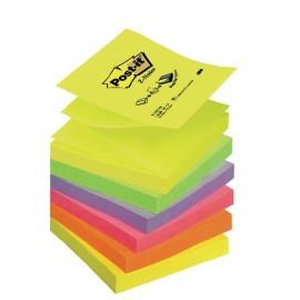 Piezīmju līmlapiņas Z-veida POST-IT 76x76mm, neona varavīksne