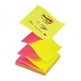 Piezīmju līmlapiņas Z-veida POST-IT 76x76mm, neona dzeltenas/sarkanas