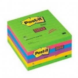 Piezīmju līmlapiņas POST-IT SUPER STICKY 100x100mm, 6 gab./iepak., ultra krāsās