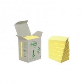 Piezīmju līmlapiņas POST-IT RECYCLED, dzeltenas, ar izmēru 38x51mm