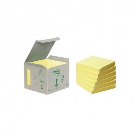 Piezīmju līmlapiņas POST-IT RECYCLED, dzeltenas, ar izmēru 76x76mm