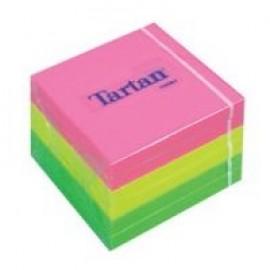 Piezīmju līmlapiņas TARTAN ar izmēru 76x76mm, assorti neona krāsas