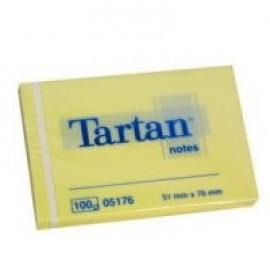 Piezīmju līmlapiņas TARTAN ar izmēru 51x76mm, dzeltenas