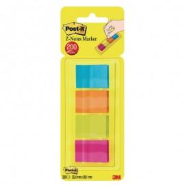 Pašlīpošie papīra indeksi POST-IT 25 x 38 mm, 4 krāsas, plastikāta turētājā