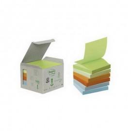 Piezīmju līmlapiņas POST-IT Z-Notes ar izmēru 76x76mm, krāsainas, 6 gab./iepakojumā