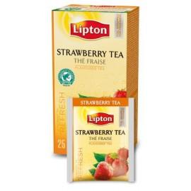 Melnā tēja LIPTON STRAWBERRY, 25 maisiņi kastītē