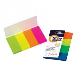 Pašlīpošie indeksi FORPUS 20x50mm, 4 krāsās neona papīra