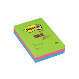 Piezīmju līmlapiņas POST-IT SUPER STICKY 102x152mm, 3 gab./iepak., ultra krāsās