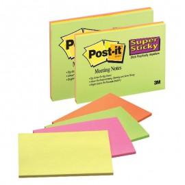 Piezīmju līmlapiņas POST-IT SUPER STICKY 200x149mm, asorti krāsās
